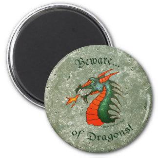 Akta sig drakestengrönt magnet