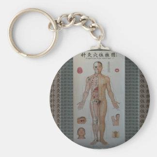 Akupunktur pekar förkroppsligar mycket beklär rund nyckelring