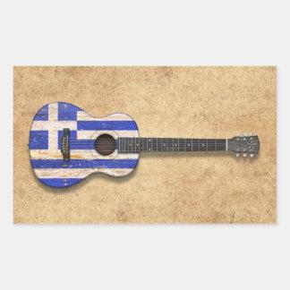 Akustisk gitarr för åldrig och sliten grekisk retangel klistermärke