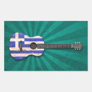 Akustisk gitarr för åldrig och sliten grekisk flag klistermärke