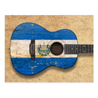 Akustisk gitarr för sliten El Salvador flagga Vykort