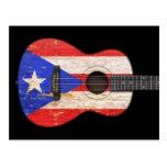 Akustisk gitarr för sliten Puerto Rico flagga, sva Vykort
