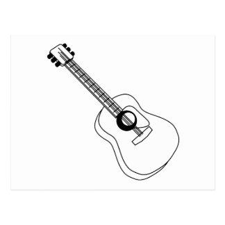 Akustisk gitarrvit skisserar den grafiska gitarren vykort