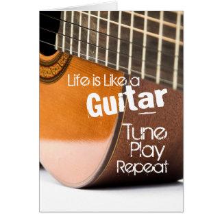 Akustiskt gitarrcitationsteckenkort hälsningskort