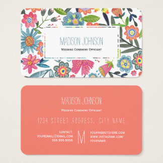 Akvarellen blommar visitkortar för   Monogram   Visitkort