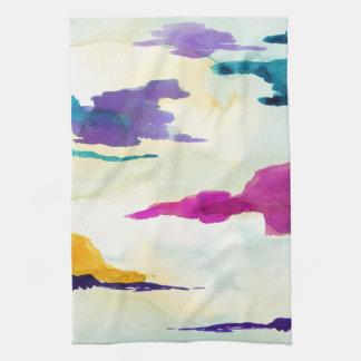 Akvarellgrönt tvättar med handduken för färgpopTea Kökshandduk