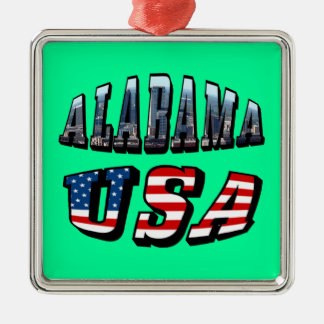 Alabama bild och USA flaggastilsort Julgransprydnad Metall