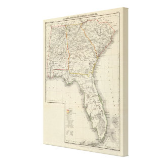 Alabama, Georgia, South Carolina och Florida Canvastryck