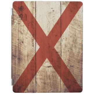 Alabama statlig flagga på gammalt Wood korn iPad Skydd