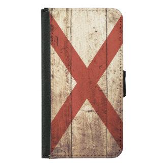 Alabama statlig flagga på gammalt Wood korn Plånboksfodral För Samsung Galaxy S5