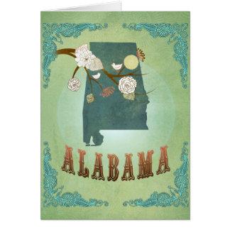Alabama statlig karta - grönt hälsningskort
