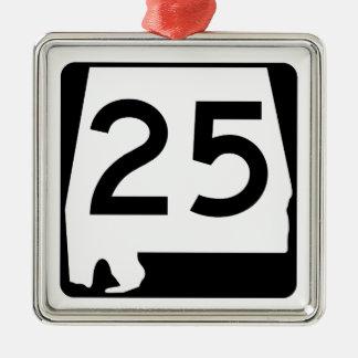 Alabama statlig rutt 25 julgransprydnad metall