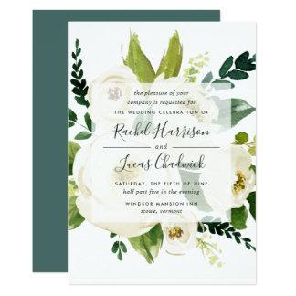 Alabaster- blom- bröllopinbjudan 12,7 x 17,8 cm inbjudningskort