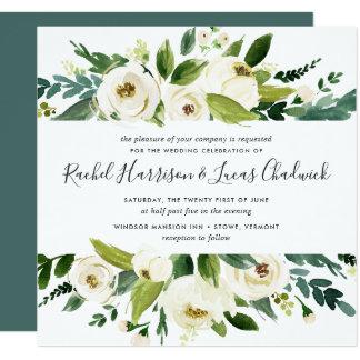 Alabaster- blom- bröllopinbjudan | kvadrerar fyrkantigt 13,3 cm inbjudningskort