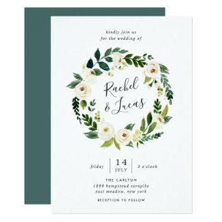 Alabaster- blom- kranbröllopinbjudan 12,7 x 17,8 cm inbjudningskort