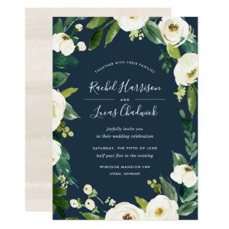 Alabaster- blom- rambröllopinbjudan 12,7 x 17,8 cm inbjudningskort