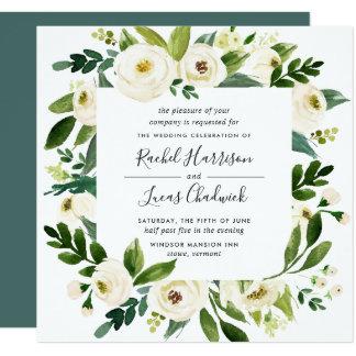 Alabaster- blom- rambröllopinbjudan | kvadrerar fyrkantigt 13,3 cm inbjudningskort