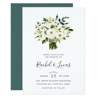 Alabaster- bukettbröllopinbjudan 12,7 x 17,8 cm inbjudningskort