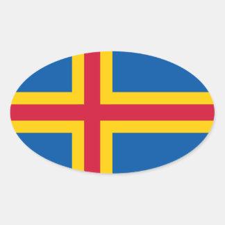 Aland flagga ovalt klistermärke