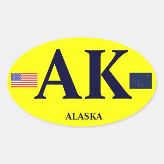 Alaska* Eurostil rikliga ovala rikliga Sticker* Ovalt Klistermärke
