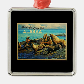 Alaska sjölejon julgransprydnad metall