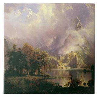 Albert Bierstadt - det steniga berg landskap Kakelplatta