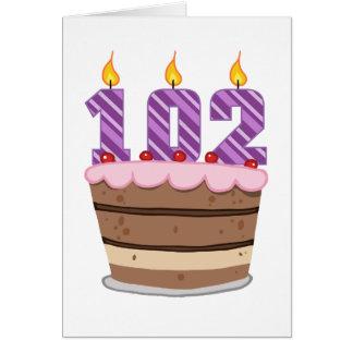Ålder 102 på födelsedagtårtan hälsningskort