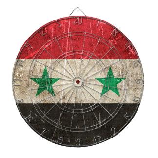 Åldras och skrapad flagga för vintage av Syrien Darttavla