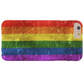 Åldras och skrapad regnbågeflagga för vintage barely there iPhone 6 plus fodral