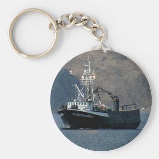 Aleutian sprej, krabbafartyg i den holländska hamn rund nyckelring