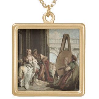 Alexander och Campaspe på huset av målare Guldpläterat Halsband
