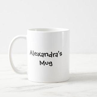 Alexandras mugg, anpassningsbarnamnmugg, anpassad kaffemugg
