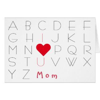 Alfabet älskar jag dig kortet för hälsningskort