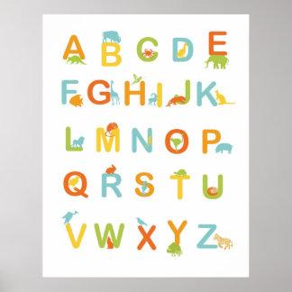 Alfabetaffisch med soliga färger poster