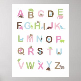 Alfabetaffischen i pinks och bryner poster