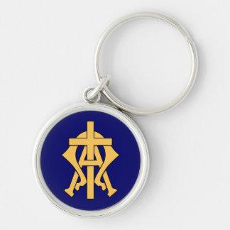 Alfabetisk & Omega Rund Silverfärgad Nyckelring