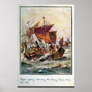 Alfred galär som anfaller den Viking draken Affisch