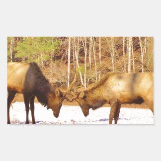 älg för tjur 2~ två i snön rektangulärt klistermärke