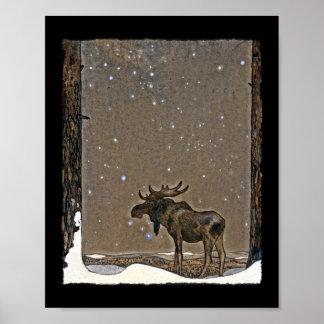 Älg i snö poster