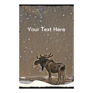 Älg i snö brevpapper