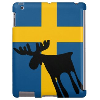 Älg / Moose med Svenska flaggan iPad Fodral