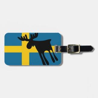 Älg / Moose med Svenska flaggan Lappar För Bagaget