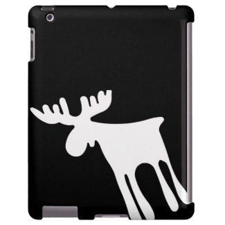 Älg / Moose, vit iPad Fodral