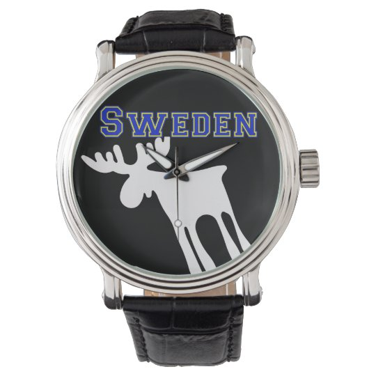 Älg / Moose, vit, Sweden Armbandsur