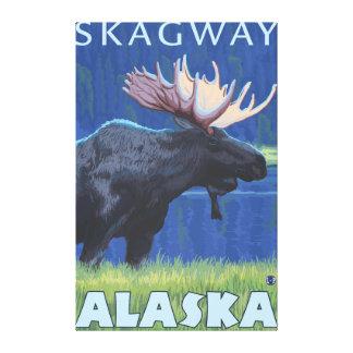 Älg på natten - Skagway, Alaska Canvastryck