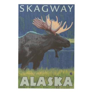 Älg på natten - Skagway, Alaska Trätavla