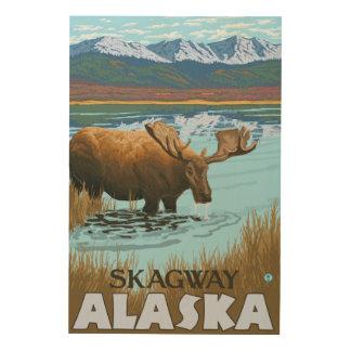 Älg som dricker på sjön - Skagway, Alaska Trätavla
