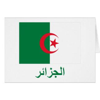 Algeriet flagga med namn i arabiska hälsningskort