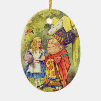 Alice & hertiginnafärgen julgransprydnad keramik