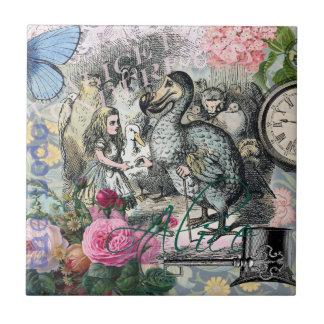 Alice i Collage för söt för underlandDodovintage Liten Kakelplatta
